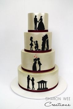 Hand cut custom silhouette wedding cake depicting the story of how the couple met, fell in love, got engaged and got married. You can see the technique I used for cutting these silhouettes in my free You Tube video here - https://youtu.be/0TSAKbOr9QI