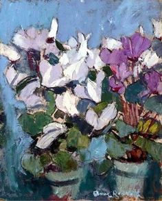 Anne Redpath (Scotland 1895-1965) Purple Cyclamen oil on board...