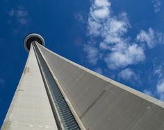 Worm's eye view from the base of the CN Tower in Toronto