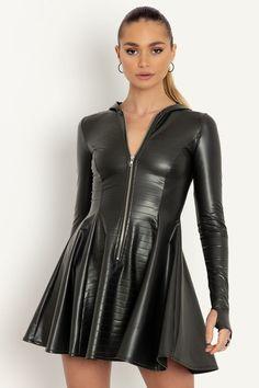 Leather Dresses, Leather Skirt, Leather Jacket, Black Milk Clothing, Hooded Dress, Princess Seam, Vegan Leather, New Dress, Dress Skirt
