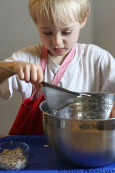 Pumpkin seeds float! A great opportunity to teach using a strainer - a Montessori practical life activity.