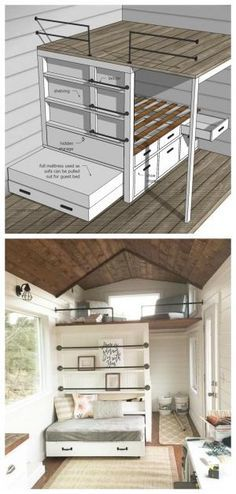 Ana White Tiny House Loft with Bedroom, Guest Bed, Storage and Shelving - DIY Projects Tiny House Loft, Tiny House Storage, Building A Tiny House, Tiny House Living, Tiny House Plans, Tiny House Design, Tiny Loft, Tiny Guest House, Guest Houses