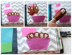 Five little monkeys  jumping on a bed - Quiet book page with finger felt puppets