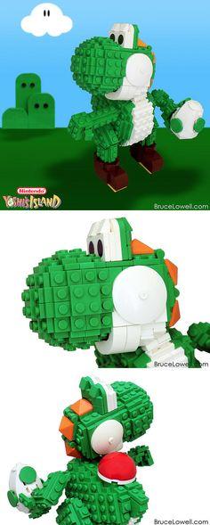 Yoshi realizado con LEGO  Artista Bruce Lowell