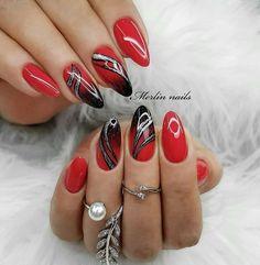 Nail Tip Designs, Elegant Nail Designs, Cute Acrylic Nail Designs, Simple Acrylic Nails, Simple Nail Art Designs, Best Acrylic Nails, Pink Ombre Nails, Red Nails, Hair And Nails