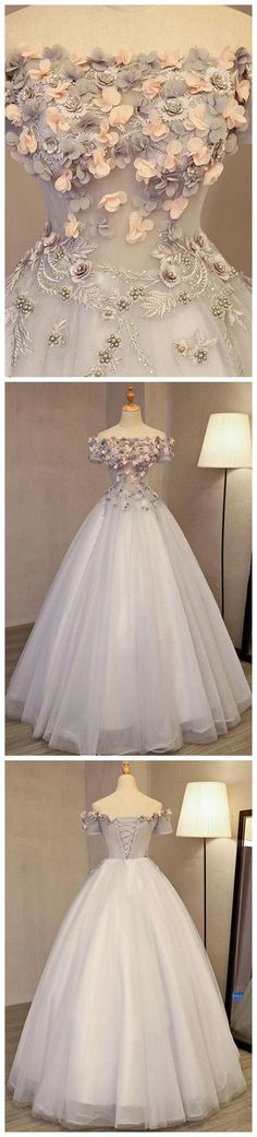 A-LINE OFF-THE-SHOULDER TULLE APPLIQUE CHIC LONG PROM DRESS EVENING DRESS,025