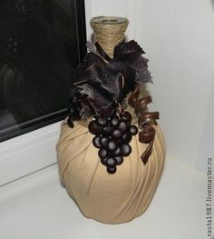 ru / Photo # 32 - New Year 2 - Kisenok-Lisenok Glass Bottle Crafts, Wine Bottle Art, Lighted Wine Bottles, Diy Bottle, Bottles And Jars, Decoupage Glass, Jar Art, Altered Bottles, Recycled Bottles