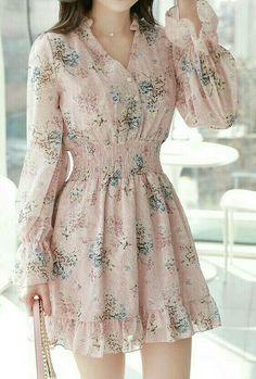 Look Fashion, Fashion Outfits, Womens Fashion, Fashion Design, Pink Chiffon Dress, Candy Dress, Sunday Outfits, Vestido Casual, Blouse Styles