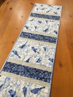 Table Runner Blue Jays and Leaves Holiday Decor – Patchwork Mountain What Is Washi Tape, Quilted Table Runners, Quilted Table Runner Patterns, Modern Table Runners, Table Runner And Placemats, Patchwork Table Runner, Quilted Table Toppers, Rm 1, Christmas Bird
