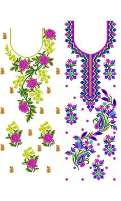 Designer Blouse Patterns, Textile Patterns, Blouse Designs, Border Embroidery Designs, Machine Embroidery Designs, Embroidery Patterns, Hand Embroidery Dress, Embroidery Suits, Quran Transliteration