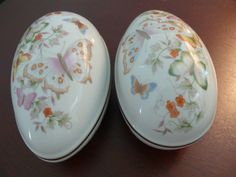 Two Avon Porcelain 22k Gold Trimmed Eggs - Matched Set of Two - No Damages - Colorful - Sweet Collectibles - Practical - Set or Only One OK