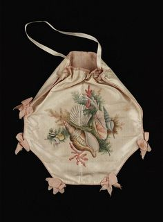 Painted silk bag, octagonal, 1800's
