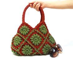 ON SALE, Crochet bag, Free Ship, Crochet hand bag, Shoulder bag, Hobo Crochet bag, Crochet purse, Green Cinnamon, Granny square bag