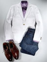 Men's white coat.