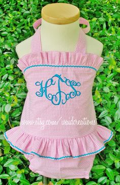 Monogrammed baby girl swimsuit, Etsy. Perfect.