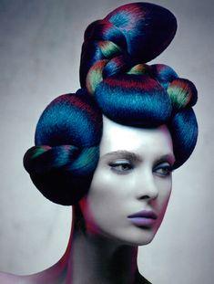 iridescent sculptured hair