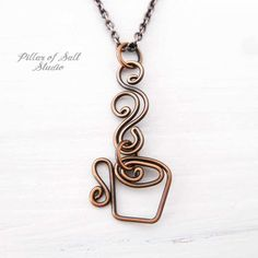coffee mug necklace handcrafted by Pillar of Salt Studio Copper Necklace, Copper Jewelry, Glass Jewelry, Wire Jewelry, Jewelry Crafts, Beaded Jewelry, Jewelery, Copper Wire, Jewellery Box