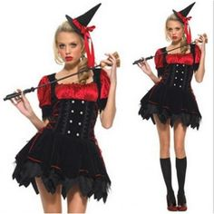 Naughty Black and Red Witch Dress Women's Halloween Costume Dress $54.69