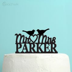 Personalized Last Name Wedding Cake Topper By Peachwik