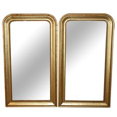 Pair of Gold Louis Philippe Mirrors | From a unique collection of antique and modern wall mirrors at https://www.1stdibs.com/furniture/mirrors/wall-mirrors/