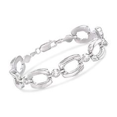 Bold, polished links make quite the presence on this bracelet, between bead-link spacers. Made in Italy. Lobster clasp, sterling silver bracelet. Free shipping & easy 30-day returns. Fabulous jewelry. Great prices. Since 1952.