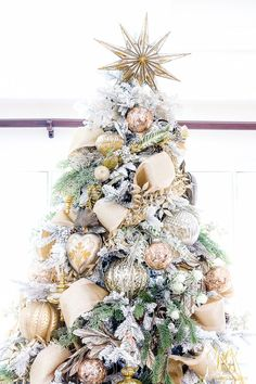 Gold and silver decorated, flocked Christmas tree details