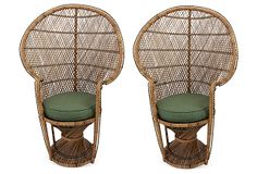 One Kings Lane - Designers' Sale - Rattan Chairs, Pair Rattan Chairs, Furniture Chairs, Berkeley Homes, Huge Houses, Peacock Chair, Leather Bound Books, Commercial Design, Product Photography, Palm Springs