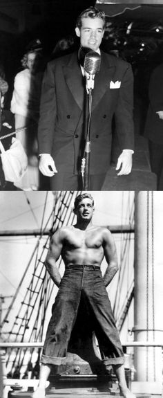 In 1946, MGM's campaign to make Guy Madison a star had him appearing everywhere — in AND out of clothes! Here he is at the 1946 Hollywood premiere of Spellbound, and in a typical beefcake publicity photo.