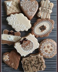 Brown and Ivory Lace Cookies