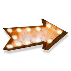 Small Arrow Vintage Marquee Sign with Lights (Rustic)