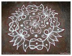 Rangoli Rev's chikku kolam 58. 8 dots 2 lines end with 2 dots. | m.iKolam.com