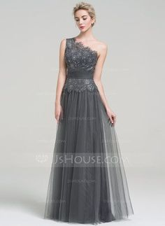 A-Line/Princess One-Shoulder Floor-Length Ruffle Beading Sequins Zipper Up Regular Straps Sleeveless No Other Colors Spring Summer Fall General Plus Tulle Evening Dress
