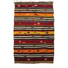 Louise Red/Orange Striped Pattern Kilim Area Rug