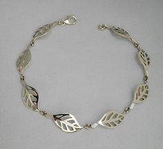 Sterling silver leaf bracelet in gloss finish, nature bracelet, leaves, trees, gift for anniversary Silver Horse, Infinity Pendant, Sterling Silver Bracelets, Handcrafted Jewelry, Anniversary Gifts, Gifts For Women, Pendants, Jewels, Leaves