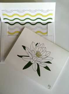 Water Lily Note Card with coordinating Waves by IdAndEgoCreations, $2.75