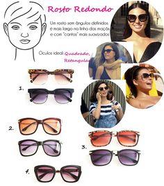 9341ed955 Óculos de Sol Ideal para Cada Tipo de Rosto redondo. Yonara · Moda feminina