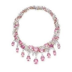 Vendura pink topaz and diamond 'Flower Twist necklace Pink Jewelry, Diamond Jewelry, Jewelry Gifts, Vintage Jewelry, Jewelry Necklaces, Jewelry Accessories, Jewlery, Pink Topaz, Pink Tourmaline