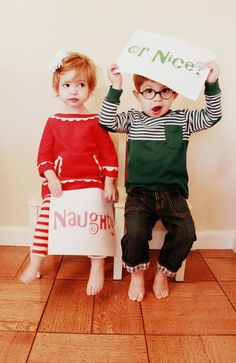 Naughty or nice? Christmas card for two year old twins