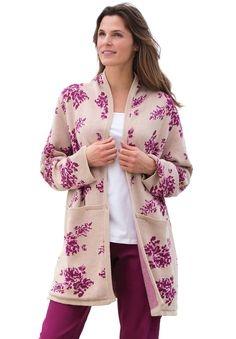 "You'll love the easy, relaxed fit of this plus size floral jacquard sweater jacket with feminine shawl collar. Did you know our patterns and prints are exclusive? Designed just for you... and only found here.  relaxed fit allows you to move with ease your favorite 34"" length falls comfortably to lower thigh shawl collar is designed with the right proportions, to lay perfectly long sleeves have armholes expertly shaped for comfort and ease quality ribbed trim at collar and cuffs, hand..."