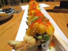 MANGO SPIDER ROLL - (Mango, Avocado, Cucumber, Shrimp Tempura) - Sushi Rock - San Francisco, CA