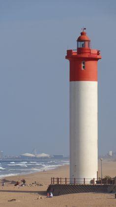Umhlanga Lighthouse with Moses Mabhida Stadium Scenic Photography, Landscape Photography, Sea Storm, Tower House, Beacon Of Light, Interesting Buildings, London Underground, South Africa, Light House