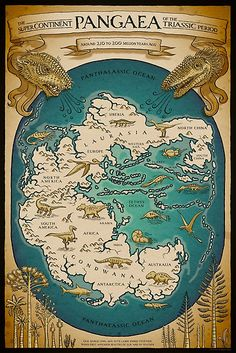 """Fun and educational map of Pangaea.  / Pen and ink, coloured and textured digitally. / """"Our world long ago, all the lands joined together  / When first appeared beasties of fur and of feather"""" / This is a map of the supercontinent of Pangea – the Earth as it looked around 250 to 200 million years ago in the Triassic. Two massive continents Gondwana and Laurasia had just bumped into each other forming a supercontinent. Early almost-dinosaurs an..."""