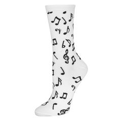 Make some music in these white socks featuring black music notes all over! One Size ( W 6-10 / M 3-8 ) 66% Cotton, 32% Nylon, 2% Spandex Check out our FAQ page for common inquiries.