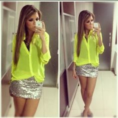 Love the neon with the glitter! Don't know when I would wear this but it would be an awesome going out outfit