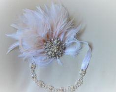 Tocado de pluma de diamante de imitación Marfil novia tocado