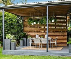 Home-Dzine – Turn a carport into a stylish patio – Whether you renovate an existing carport into a patio or decide to have a basic carport erected, the simple design of a carport allows you to set up an easy patio area in a small or large garden. Carport Patio, Backyard Gazebo, Deck With Pergola, Outdoor Pergola, Outdoor Areas, Outdoor Rooms, Outdoor Living, Outdoor Decor, Cozy Backyard