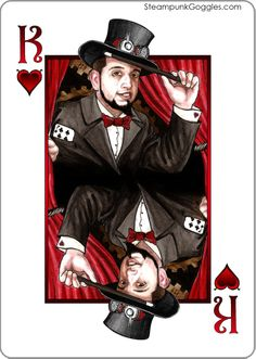 Steampunk King of Hearts - The Magician / Gentleman - Kickstarter Deck - Funding ends January 10, 2014 http://www.kickstarter.com/projects/consorte/steampunk-goggles-playing-cards-deck-uspcc-bicycle