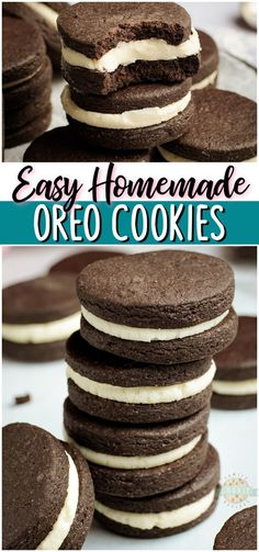 Homemade Oreo Cookies recipe for anyone who loves OREOS! Our Homemade Oreos taste even better with the chocolaty cookies on the outside & buttery vanilla cream on the inside.#cookies #baking #dessert #OREO #easyrecipe from FAMILY COOKIE RECIPES via @familycookierecipes Homemade Oreo Cookies, Oreo Cookie Recipes, Fruit Recipes, Chocolate Chip Cookies, Dessert Recipes, Dessert Ideas, Easy Recipes, Best Comfort Food, Comfort Foods