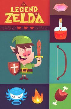 The Legend of Zelda Created by Matt Kaufenberg . The Legend Of Zelda, Nintendo 3ds, Classic Video Games, Photo Awards, Geek Games, Children's Book Illustration, Game Art, Childrens Books, Geek Stuff