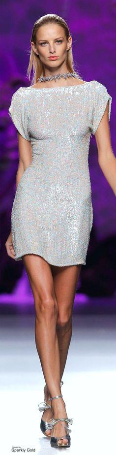 Francis Montesinos ~ Summer Sequin Silver-Blue Mini Dress 2015